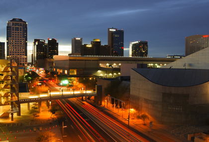 Phoenix AZ city at sunset by our corporate apartments