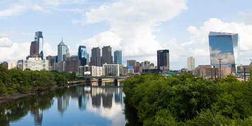 Panoramic skyline view of Philadelphia, Pennsylvania